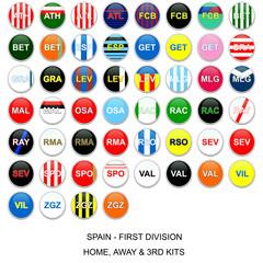 Botones de kits de equipos de la liga española de fútbol