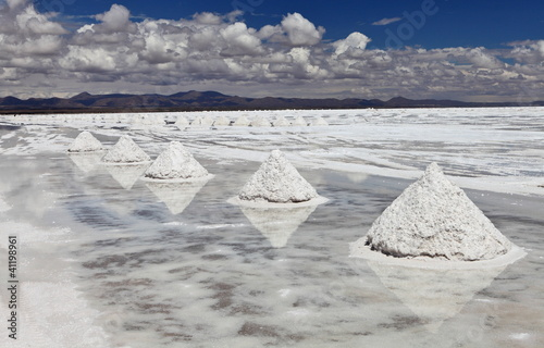 Piles of salt in Salar de Uyuni salt lake, Bolivia