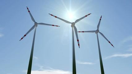 Animierte Windräder mit Wolken und Sonne (Full HD,30 FPS)