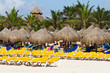 Deckchairs with parasols at Caribbean Sea of Mexico