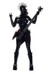 Heavy Rubber Black Latex Fetish GasMask Girl Rock Guitar