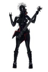 Heavy Rubber Black Latex Fetish GasMask Girl Rock Guitar