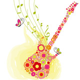 Springtime flower guitar music festival background poster