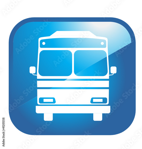Bus in blue glossy Icon