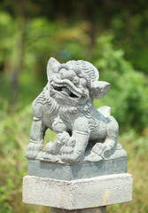 Chinese Lion statue in Thai temple, Thailand