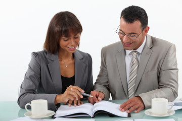 Man and woman studying a book together