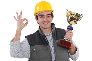 Worker with sports drink