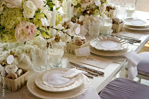 Fotobehang Buffet, Bar White wedding Banquet Table With Milk & Doughnuts