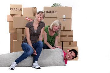 Happy friends moving