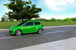Green Energy auto on spring background rendered