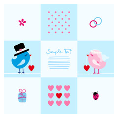 Wedding Card Cute Birds Blue