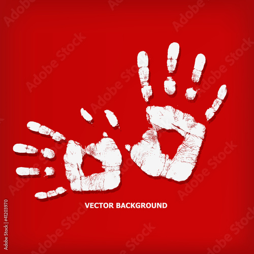 Abstract hand print on a red background
