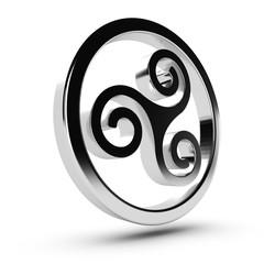 triskell ou triskèle, symbole celte fond blanc