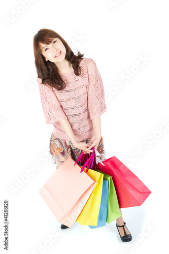 Beautiful shopping woman. Portrait of asian woman.
