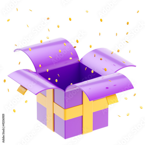 Gift box with ribbon, confetti isolated