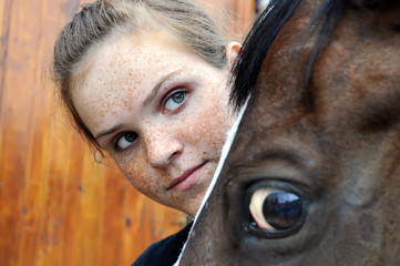 teenage girl and horse, conceptual image
