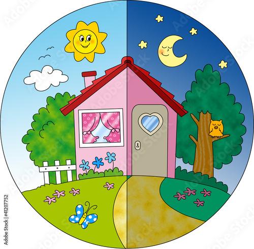 Casa di campagna giorno e notte, illustrazione per bambini.