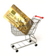 Gold credit card on a shopping cart