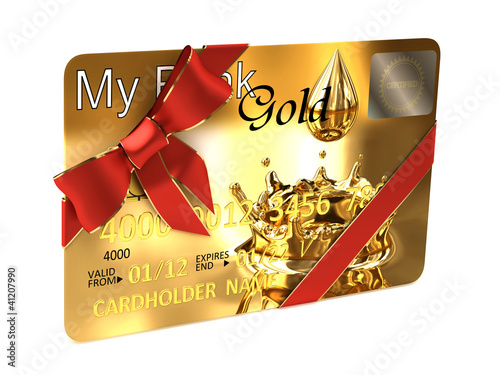 Gold credit card whit a ribbon