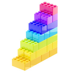 Steps made of toy bricks isolated
