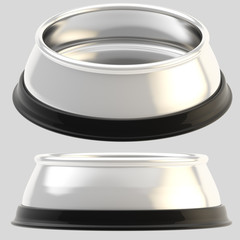 Pet chrome food bowl isolated