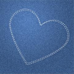 Herz auf Jeans Hintergrund