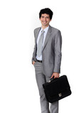 A happy businessman with a briefcase.