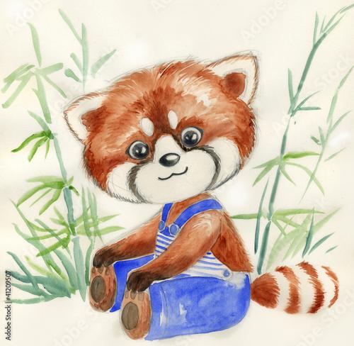 Piccolo panda rosso con pantaloni blu. Acquerello per bambini.