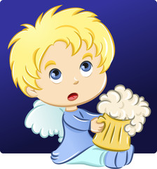 Little angel holding a beer