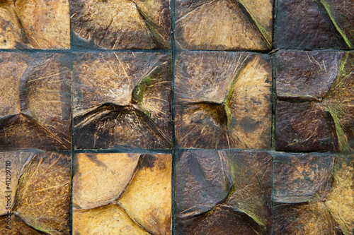 Coconut shell wall close up