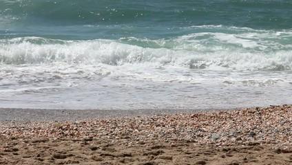 Sandy beach at sunny day