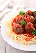 spaghetti and tomato sauce with meatballs