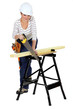 Woman sawing wood on work-bench