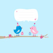 2 Birds With Gifts On Tree Speech Bubble Blue