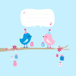 2 Birds With Gifts Tree Hanging Gifts Speech Bubble Blue