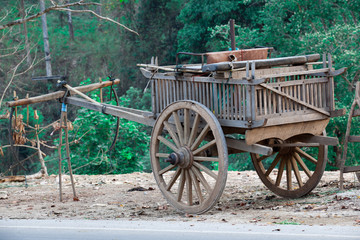 Old wooden cart Thai style