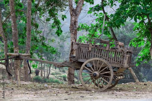 old wooden wagon Thai style
