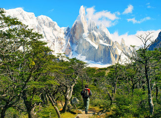 Hiker trekking in nature landscape in Patagonia, Argentina
