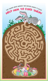 Easter bunny maze for kids! Find the easter eggs!