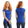 Pretty female wearing blank blue shirt