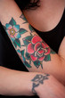 Flower Tattoo on Female Arm