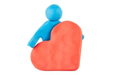 Plasticine man with heart