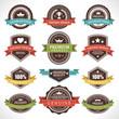 Vintage labels and ribbons set vector design elements