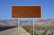 Blank Brown Highway Sign in the Mojave Desert