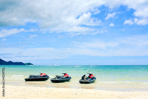 three jetski on the beach. Koh Samui,Thailand