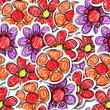 Red hand-drawn flowers seamless background
