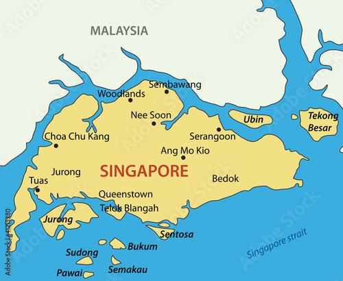 Republic of Singapore - vector map | Buy Photos | AP Images | DetailView