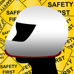 Safety Helmet and Safety First Road Sign