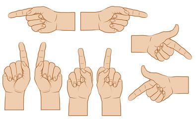 Zeigender Finger, farbig