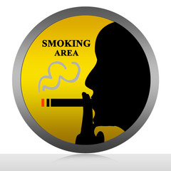 Smoking Area Sign Isolated on White